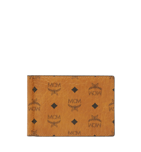 MCM Claus Money Clip in Visetos Original - Cognac
