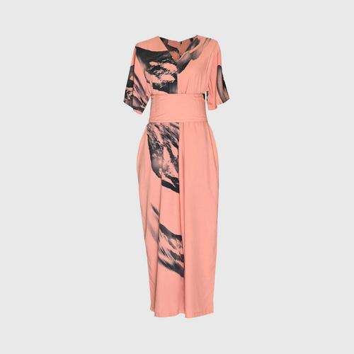 LAISEN 3/4 sleeve jumpsuit with back zip and sash - Peach