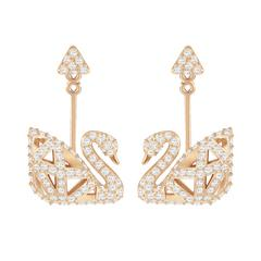 SWAROVSKI Facet Swan Pierced Earrings, White, Rose gold plating