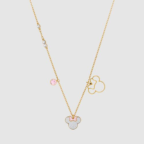 SWAROVSKI Mickey & Minnie Pendant, White, Gold-tone plated