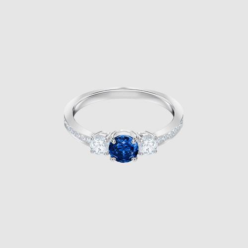 SWAROVSKI Attract Trilogy Round Ring, Blue, Rhodium plating - Size 52