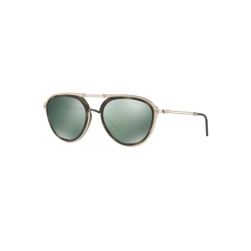 EMPORIO ARMANI Matte Pale Gold/Green Havana Light Green Mirror Petrol Male Sunglasses