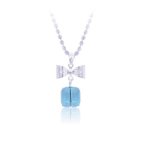 12VICTORY Gift Box Shape Lt.Turquoise Necklace