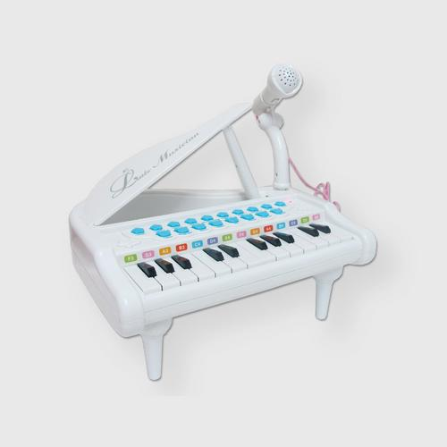 BB TOY Piano with Light, Music and Microphone - White
