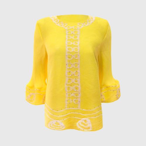 SHEENICHI PLEATS  diagonal pleats shirt. Yellow