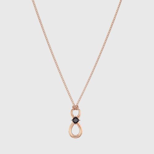 SWAROVSKI Infinity Pendant, Black, Rose-gold tone plated