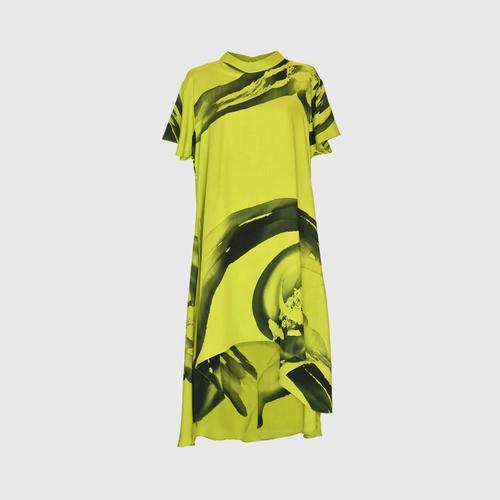 LAISEN High neck short sleeve asymmetric dress - Light Green
