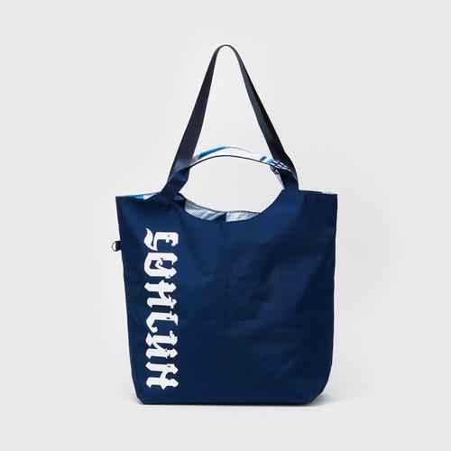 MAHANAKHON Typo Graphic Reversible Tote Bag Blue