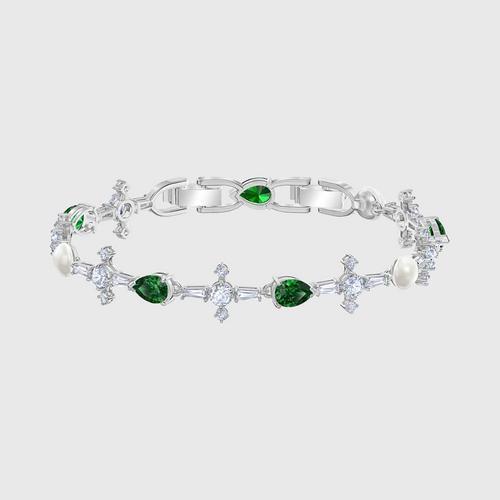 SWAROVSKI Perfection Bracelet, Green, Rhodium plated - Size M