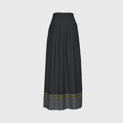 TAYWA - Hand-woven cotton skirt  Free size Black