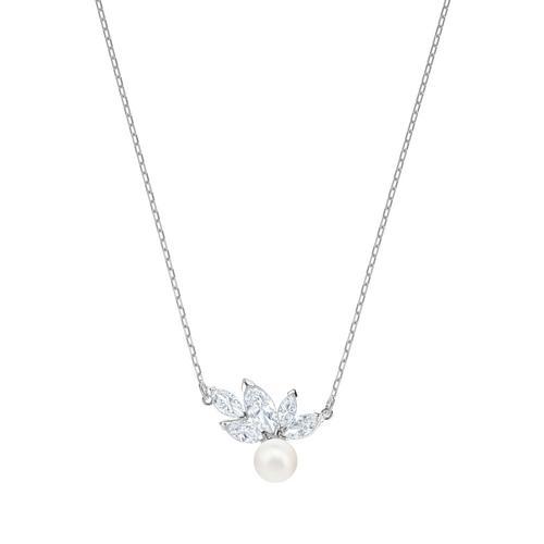 SWAROVSKI Louison Pearl Pendant, White, Rhodium plating
