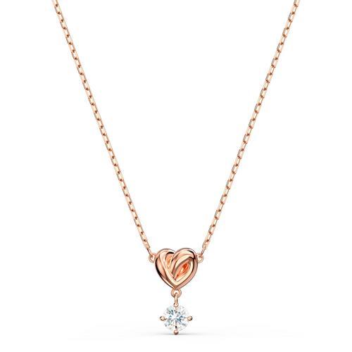 SWAROVSKI Lifelong Heart Pendant, White, Rose-gold tone plated