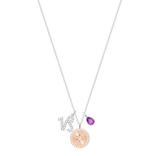 SWAROVSKI Zodiac Pendant, Capricorn, Purple, Rhodium plating
