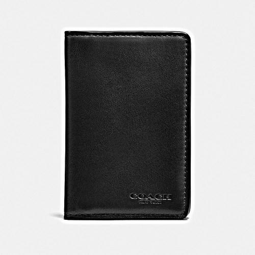 COACH Card Wallet in Sport Calf Leather - BLACK