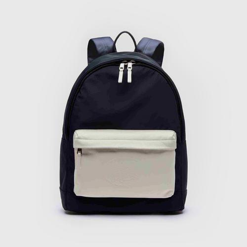 LACOSTE Men's L.12.12 Cuir Embossed Lettering Bicolour Leather Backpack - Black Iris White