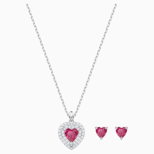 SWAROVSKI One Set, Red, Rhodium plated