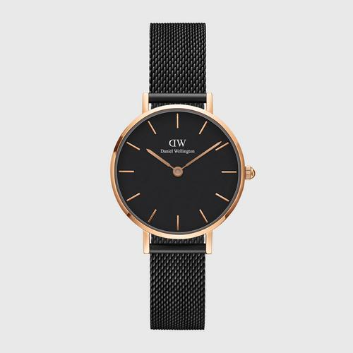 DANIEL WELLINGTON Petite Ashfield Black Rose gold 28mm