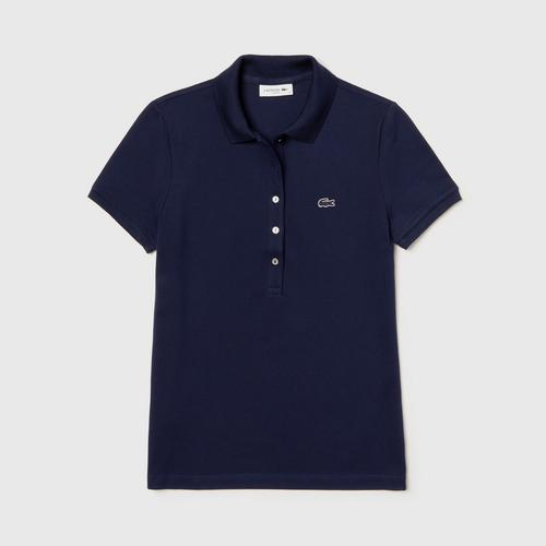 LACOSTE Women's Lacoste Slim Fit Stretch Mini Cotton Piqué Polo Shirt Navy Blue  - Size 34