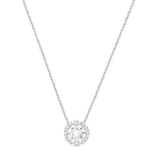 SWAROVSKI Sparkling Dance Round Necklace, White, Rhodium plating