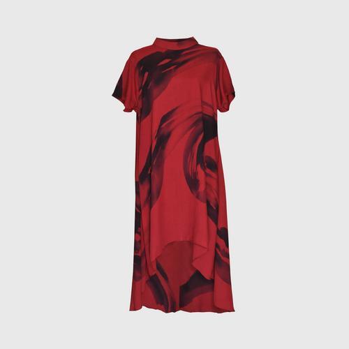 LAISEN High neck short sleeve asymmetric dress - Red