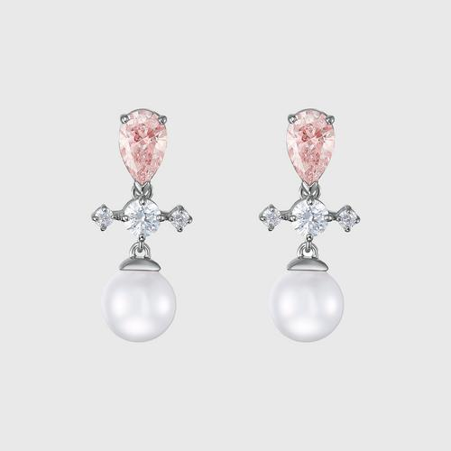 SWAROVSKI Perfection Pierced Earrings, Pink, Rhodium plated