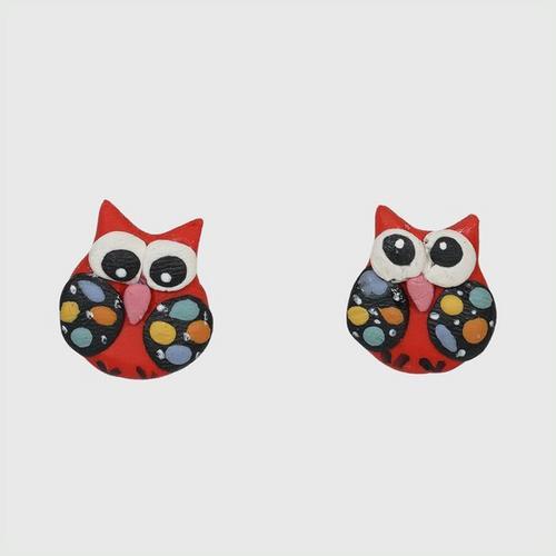 NANY OTOP Red owl earrings.
