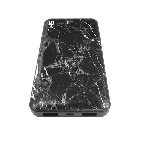 SML Power Bank 10000mAh Dual USB Marble - Black