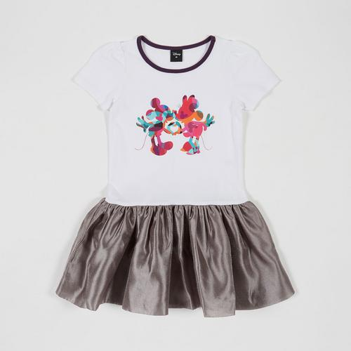 Disney Girl Dress Mickey White/Grey-S
