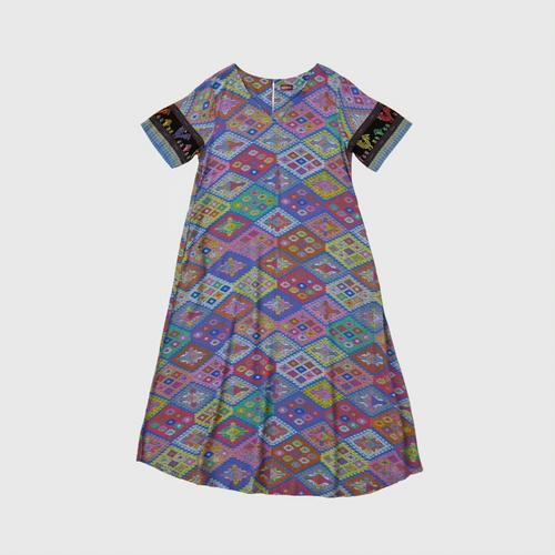 Thai Lue Printed Cotton Dress Pattern printed from Thai Lue peopleApplied to be printed fabric. Made from special bleached cotton,comfortable to wear, modern