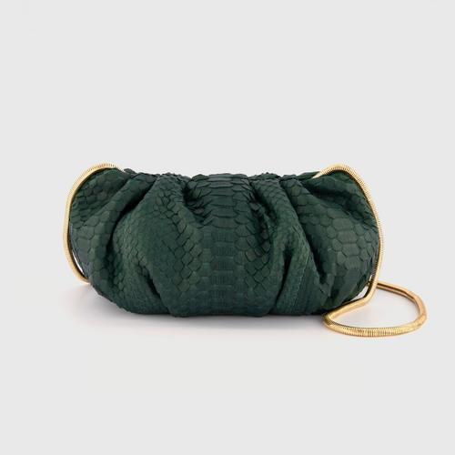 OPIUM PYTHON CLUTCH BAG -  DK.GREEN
