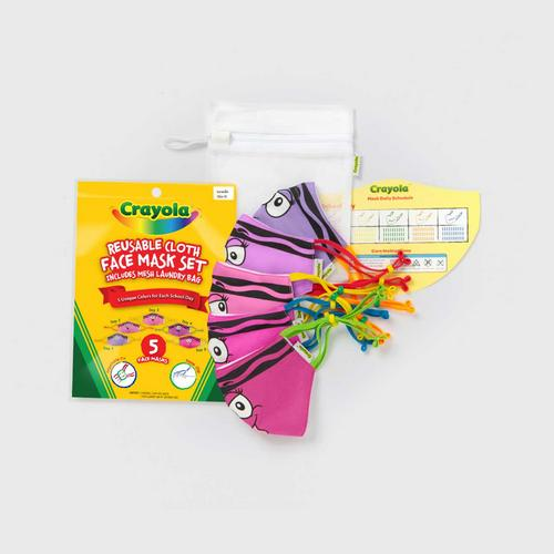 SchoolMaskPack™ Crayola™ Reusable Cloth Face Mask Set - Pinks and Purples Tip™ Faces (Size S)