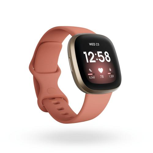 Fitbit Versa3 Watch + GPS - Pink Clay/Soft Gold Aluminum