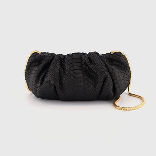 OPIUM PYTHON CLUTCH BAG - BLACK