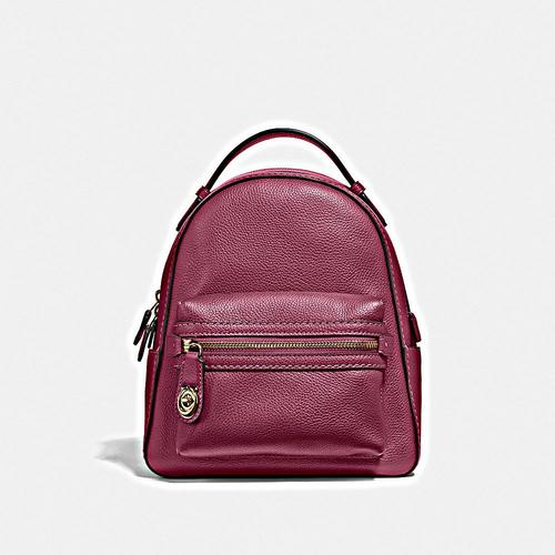 COACH Polished Pebble Campus Backpack 23 - GD/Dusty Pink