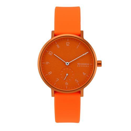 SKAGEN Aaren Analog Orange Silicone Watch