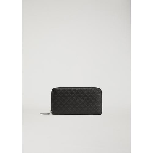 EMPORIO ARMANI Long wallet in leather with all-over logo