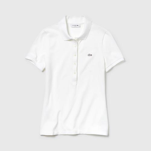 LACOSTE Women's Lacoste Slim Fit Stretch Mini Cotton Piqué Polo Shirt White - Size 34