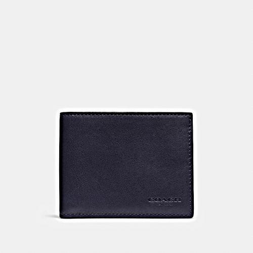 COACH Sport Calf Slim Billfold ID Wallet - MIDNIGHT