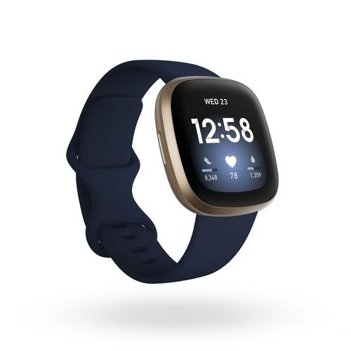 Fitbit Versa3 Watch + GPS  - Midnight/Soft Gold Aluminum