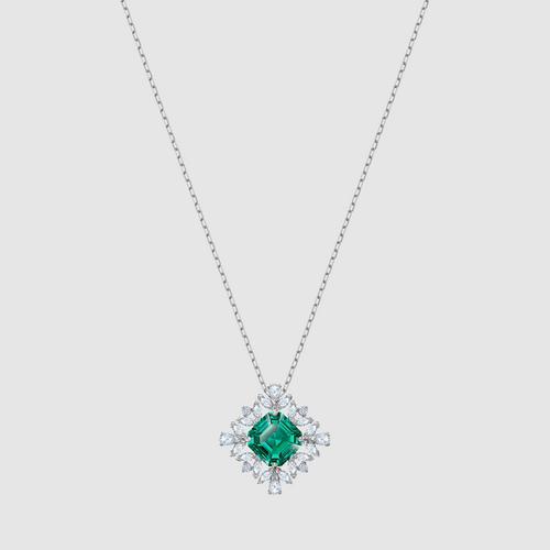 SWAROVSKI Palace Necklace, Green, Rhodium plated