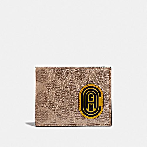 COACH Slim Bill in Signature featuring Bubble C Patch - Khaki/Flax