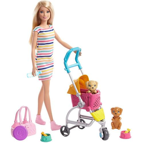 BARBIE Stroll n Play Pups Doll and Playset