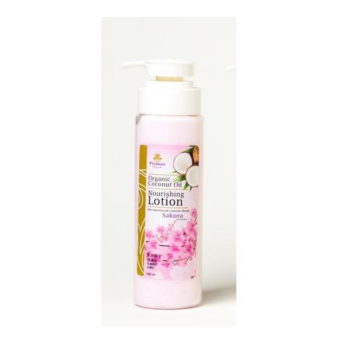 PIYAMAS Organic Coconut Oil Nourishing Lotion Sakura 250 G.
