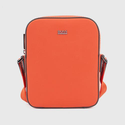 HUGO BOSS Signature Collection reporter bag in rubberized Italian leather - Orange