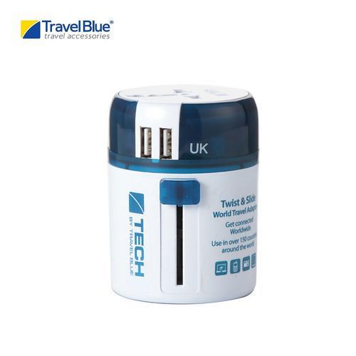 "Travel Blue TB272 ""Twist & Slide"" Worldwide Travel Adaptor+ USB (World Edition)"
