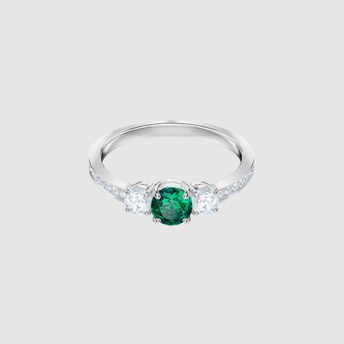 SWAROVSKI Attract Trilogy Round Ring, Green, Rhodium plating - Size 55