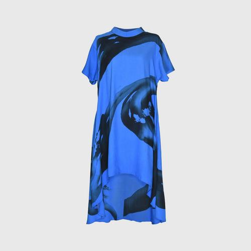 LAISEN High neck short sleeve asymmetric dress - Dark Blue