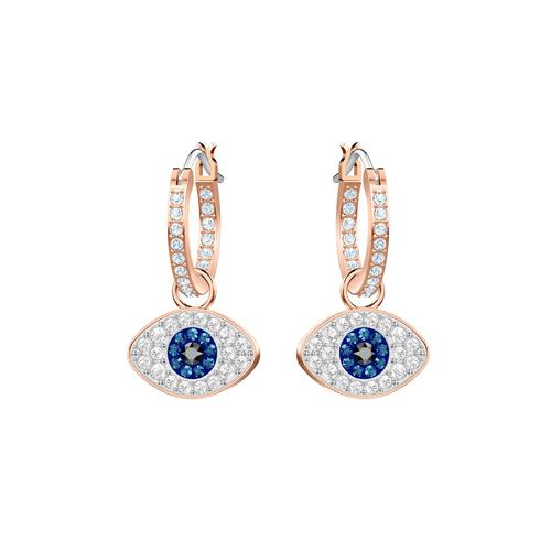 SWAROVSKI Symbolic Evil Eye Hoop Pierced Earrings, Blue, Rose-gold tone plated