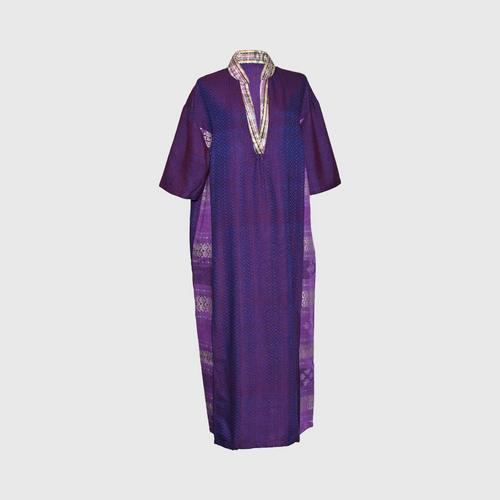 TAYWA - Handwoven cotton dress Free size dark purple