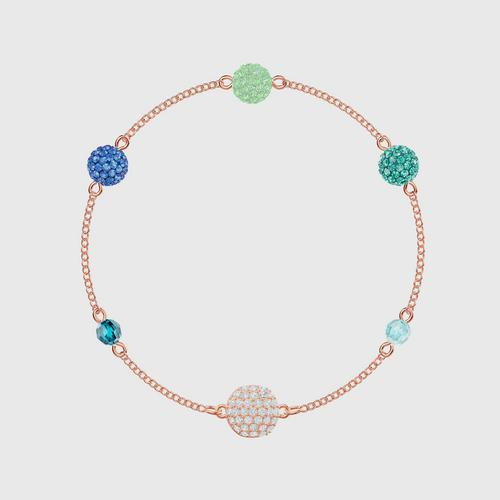 SWAROVSKI Remix Collection Pop Strand, Green, Rose-gold tone plated - Size S
